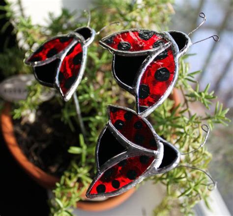 three stained glass ladybug garden stakes garden