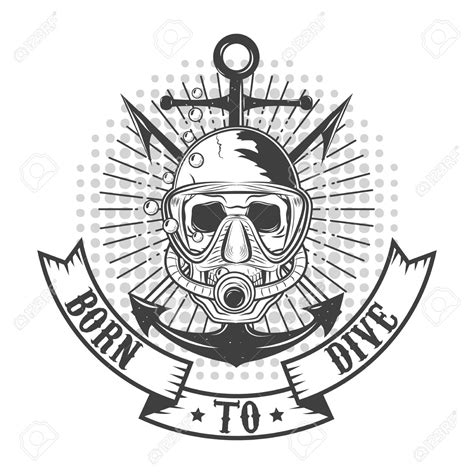 scuba diving skull clipart