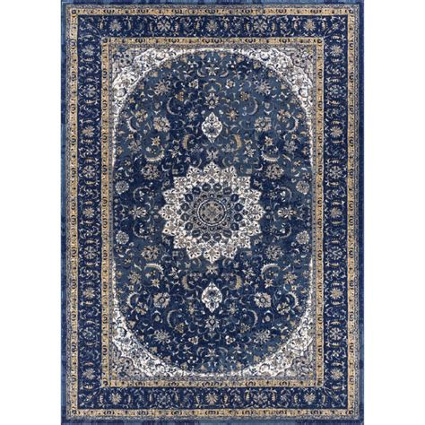 3 area rug well woven luxury mahal blue 3 ft 11 in x 5 ft 7 in traditional medallion vintage distressed