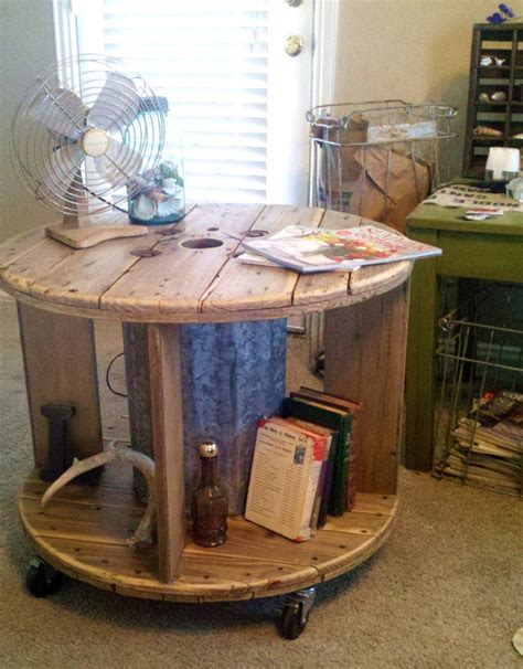 Repurposed Coffee Tables Repurposed Spool Industrial Rustic Coffee Table Or End Table With Casters 325 00 Via Etsy