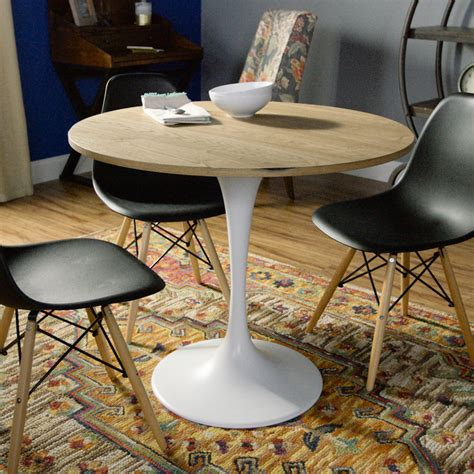 Tulip Dining Table Wood And White Metal Leilani Tulip Dining Table World Market