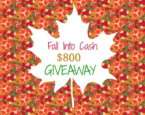 Big Money Giveaway - fall into cash 800 giveaway
