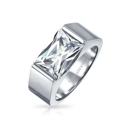 Mens Engagement Rings by Stainless Steel 4ct Emerald Cut Cz Mens Engagement Ring