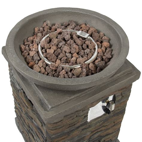 bcp outdoor patio fire bowl firepit with lava rocks stone