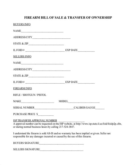 Bill Transfer Letter Format Sle Bill Of Sale Forms For Gun 7 Free Documents In Pdf