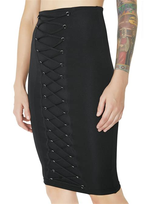 Lace Up Pencil Skirt black lace up pencil skirt dolls kill