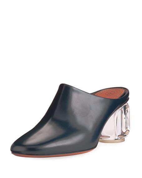 Glass Heel the row adela mule with glass heel navy neiman