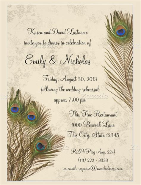 Peacock Template by 25 Peacock Wedding Invitation Templates Free Sle