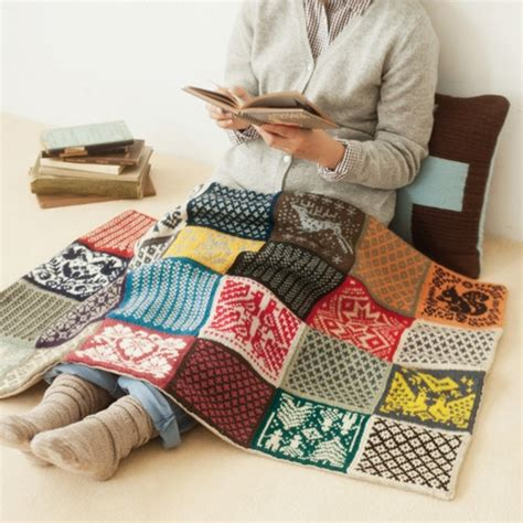 Patchwork Knitting - patchwork knit laprobe or baby blanket afghan throw