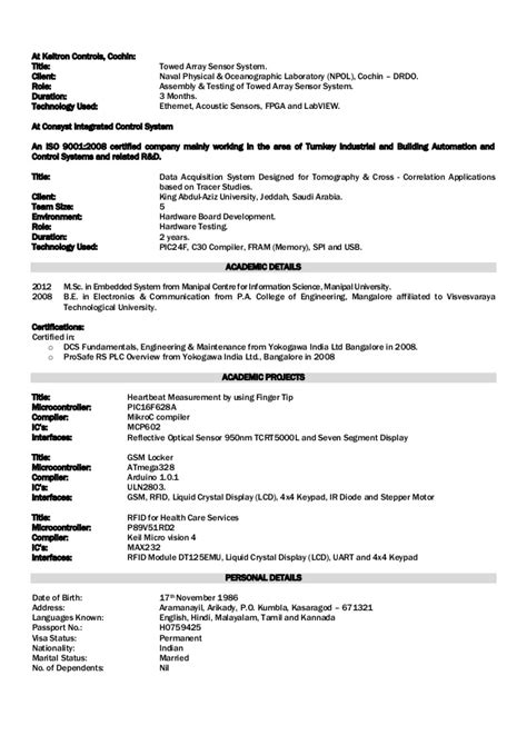 Electronics Engineering Resume Sles by Electronics Engineer Resume Foramt