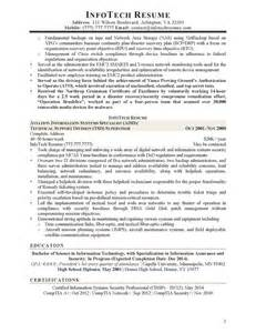 Information Security Specialist Sle Resume by It Resume Sles Infotechresume