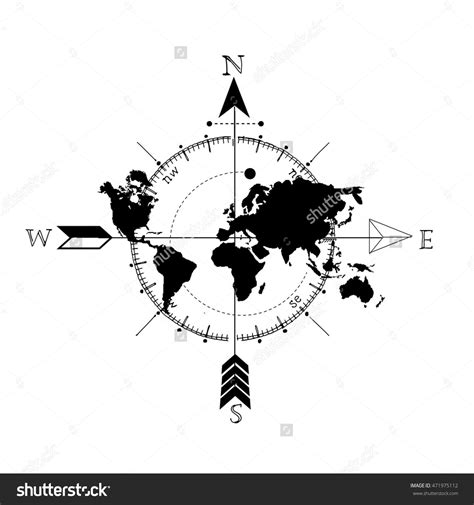 globe tattoo logo stock vector stylized world map with compass and arrow