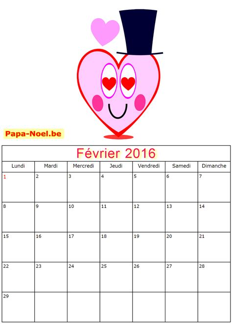 Février 2017 Vacances Scolaires Calendrier 2016 A Imprimer
