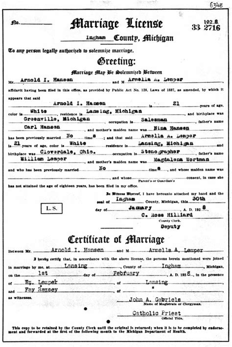 Ingham County Marriage Records Genealogy Data Page 193 Notes Pages