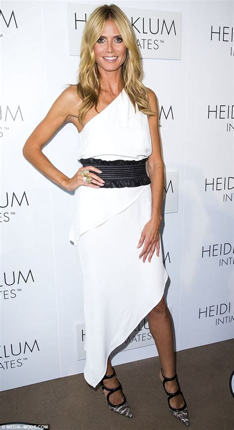 heidi klum at launch of intimates lingerie line in asymmetrical dress daily mail online