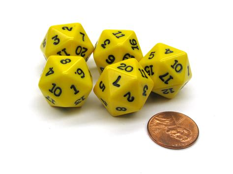 Dice 20 Sided Black set of 5 twenty sided 19mm d20 opaque dice rpg d d yellow with black numbers die ebay