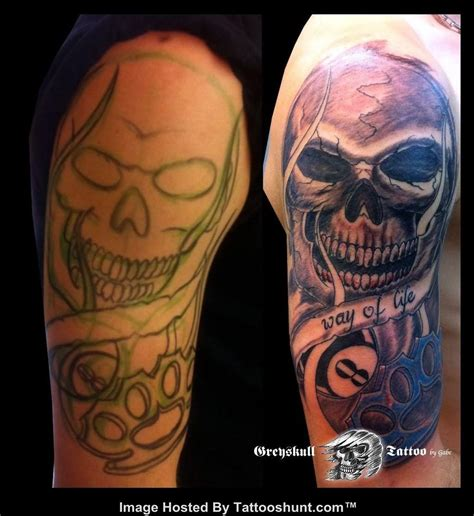 ball is life tattoo way of banner with skull and eightball on half