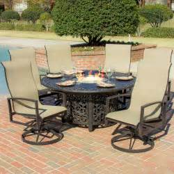 Patio Rockers by Acadia 7 Piece Sling Patio Fire Pit Dining Set With Swivel