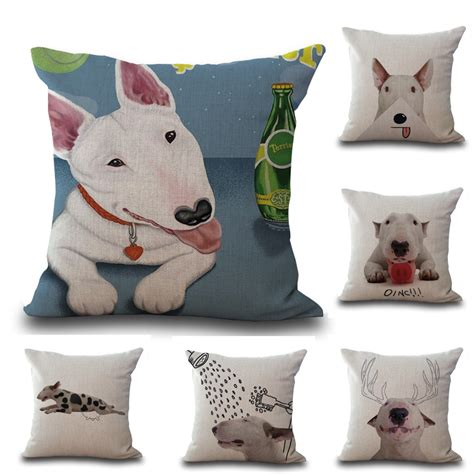 decorative seat cushions square 18 quot cotton linen bull terrier dogs picture