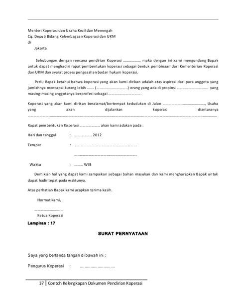 contoh kelengkapan dokumen untuk pendirian koperasi
