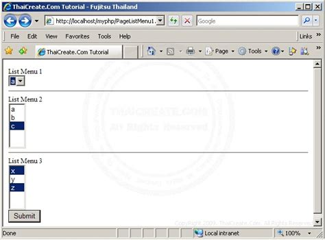 html tutorial listbox php รบกวนหน อยค บ เร อง multiple listbox