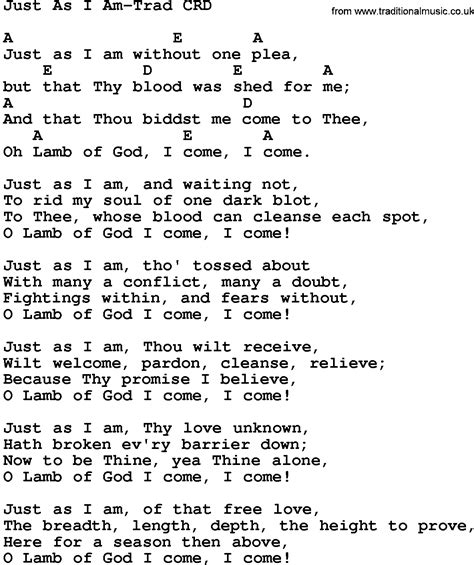Just As I Am gospel song just as i am trad lyrics and chords