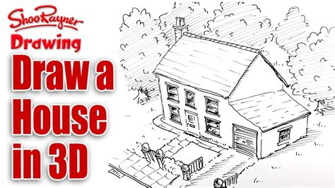 how to draw a 3d house how to draw a house in 3d bird s eye view youtube