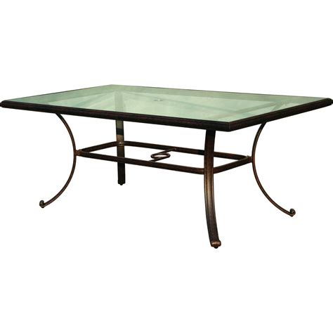 glass top outdoor table darlee 72 x 42 inch cast aluminum patio dining