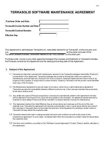 Software Maintenance Agreement International Presence Software Support Maintenance Agreement Template