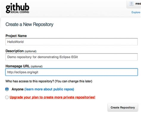 github project tutorial egit user guide 1 getting started eclipsepedia