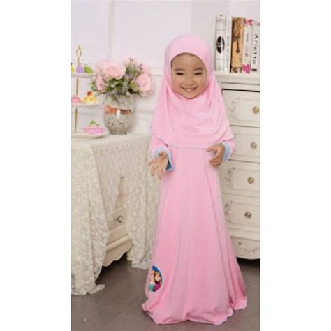 Baju Dress Frozen frozen jubah dress light pink