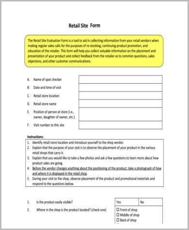 7 Retail Appraisal Form Sles Free Sle Exle Format Download Retail Store Feedback Form Template