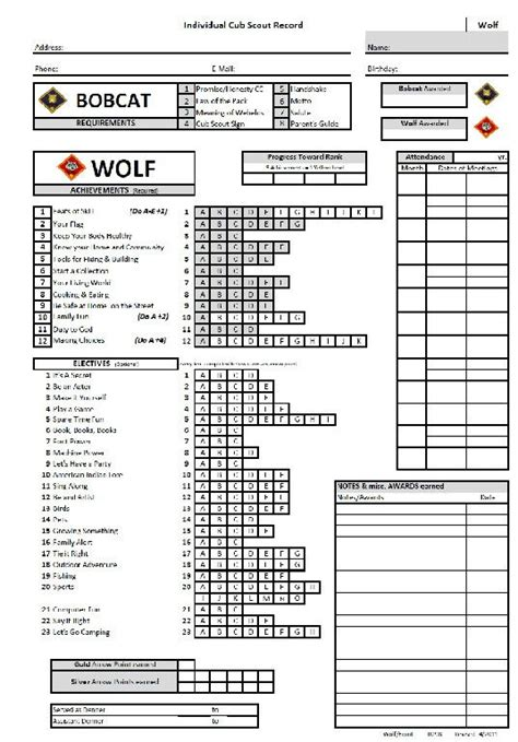 Boy Scout Tracking Spreadsheet by To Be Wolves And Track On