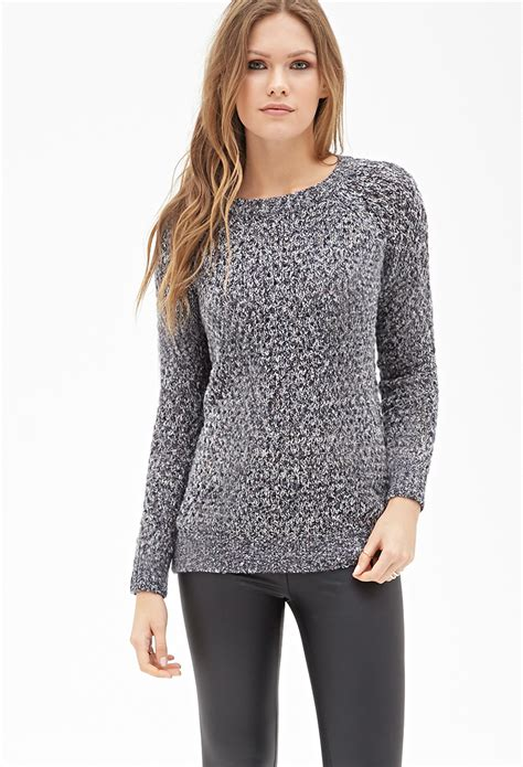 forever 21 open knit sweater forever 21 marled open knit sweater in blue navy multi