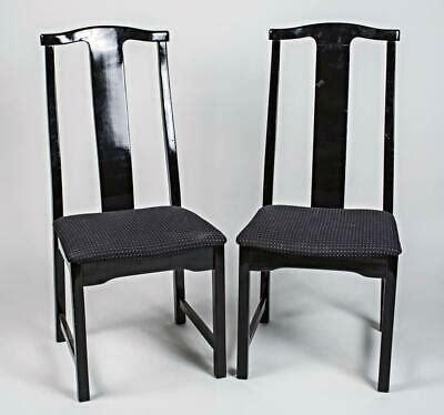 pair  asian style black ebonized side chairs armchairs