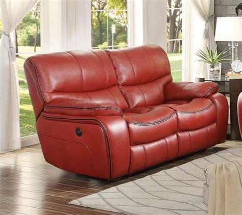 red leather reclining loveseat pecos 8480red 2pw red leather match power double reclining