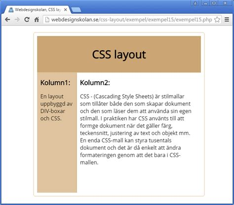 Html Layouts Css Condition Php | webdesignskolan css layout