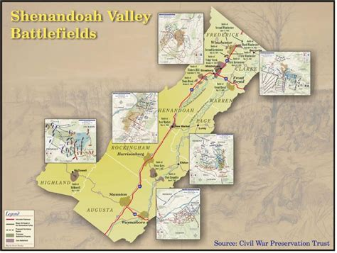 map of valley shenandoah valley battlefields civil war trust