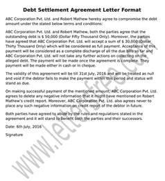 Letter Of Agreement For Debt Settlement Sle Agreement Letter For Debt Settlement Agreement Letter Format
