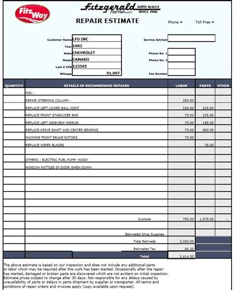 Repair Estimate Form Template Free