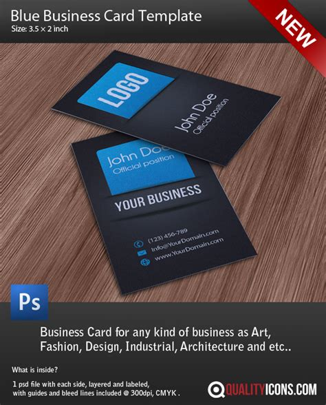 photoshop business card template with bleed business card template psd blue by qualityicons on deviantart