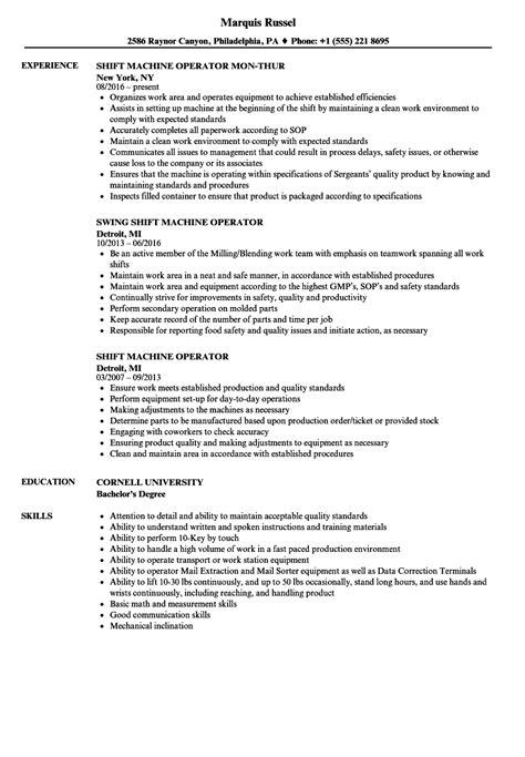 Machine Operator Resume by Shift Machine Operator Resume Sles Velvet
