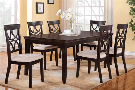 6 Piece Dining Table Set Espresso Finish Huntington Dining Table Set For 6