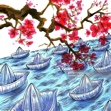 origami japanese boat japanese origami boats and cherry blossom stock