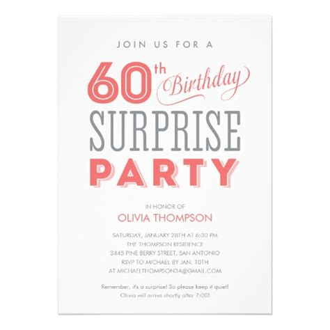 60th surprise birthday invitations zazzle