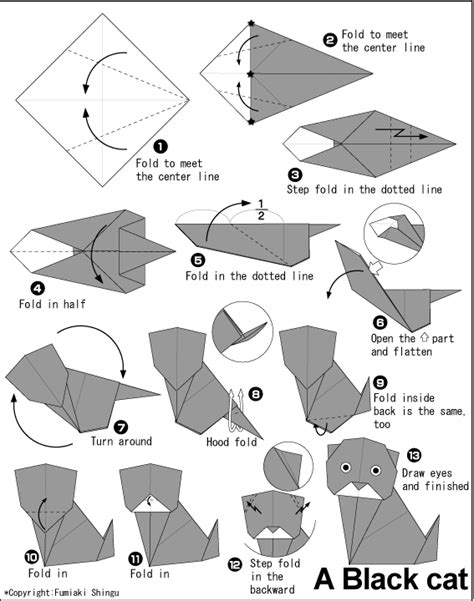 Origami Cat Diagram - origami origami cat
