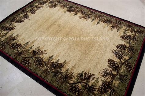 Lodge Style Area Rugs by 8x10 7 10 Quot X 9 10 Quot Lodge Cabin Rustic Pinecone Green