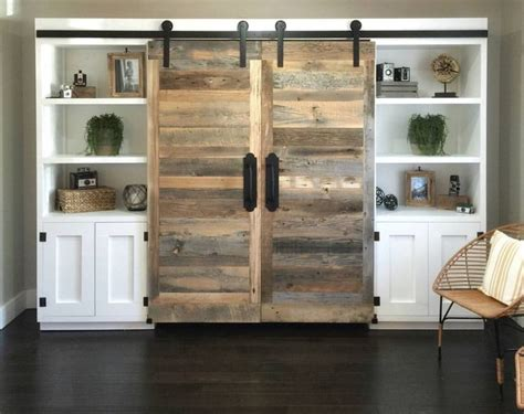shanty  chic sliding barn door desk entertainment