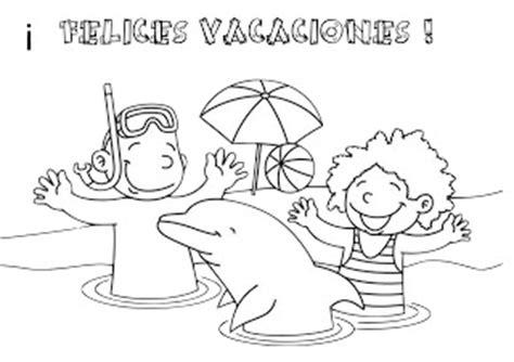 imagenes de vacaciones para colorear pinto dibujos felices vacaciones para colorear