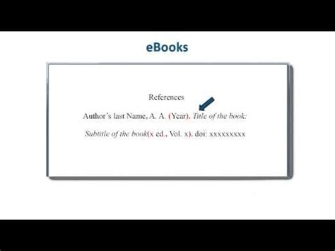 format for ebook how to reference ebooks apa style reference list youtube
